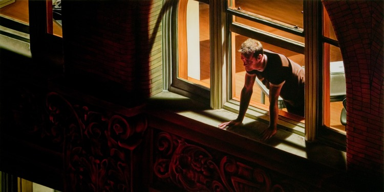 Damian Loeb - Rear Window 48x96in Oil on Linen
